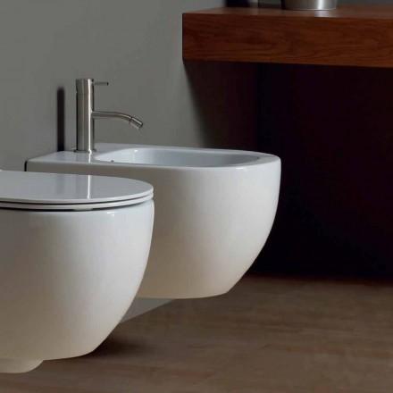 Bidet suspendu moderne en céramique blanche Star 50x35cm fabriqué en Italie