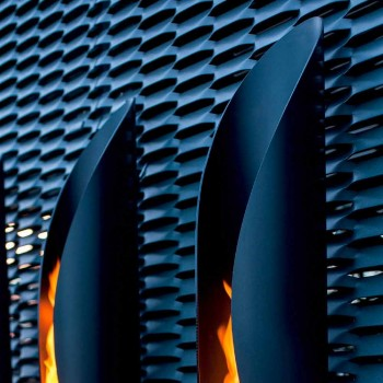 Bio-cheminée murale de design tubulaire et moderne en acier noir - Jackson