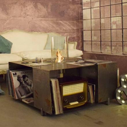 Bio-cheminée au sol et table basse design moderne en acier - Christopher