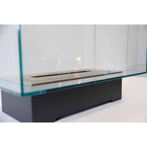 Bio-cheminée de plancher de conception moderne en verre et acier ou Corten - Bradley