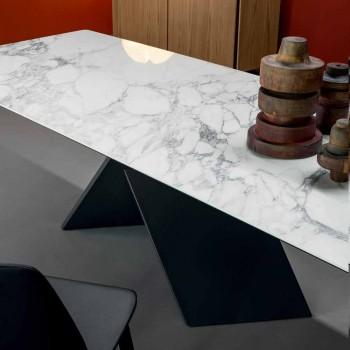 Table design Bonaldo Axe en métal céramique base fabriquée en Italie