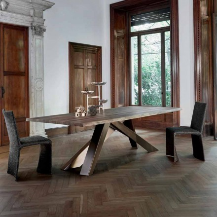 Bonaldo Big Table table en bois massif bords naturels faite en Italie