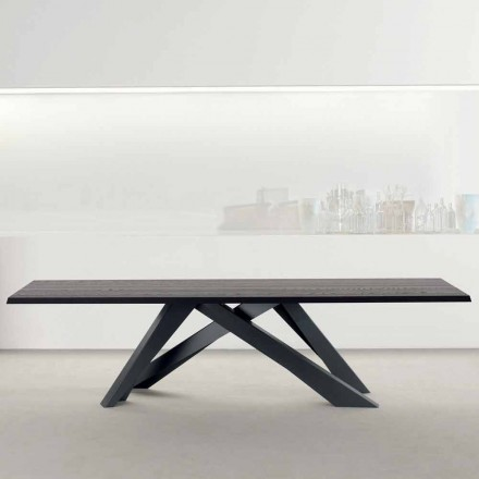 Bonaldo Big Table table bois massif gris anthracite faite en Italie