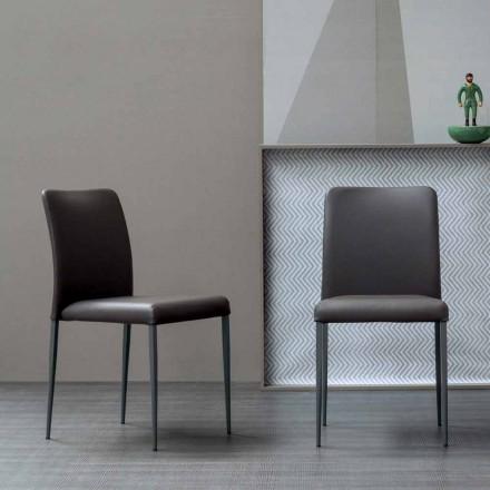 Bonaldo Deli chaise de design, assise rembourrée cuir faite en Italie