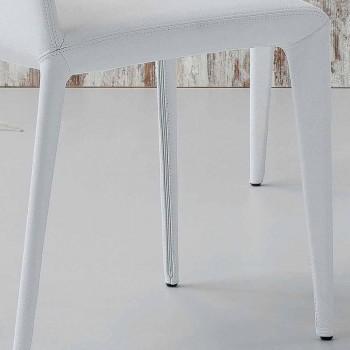 Chaise rembourrée design Bonaldo Filly en cuir blanc fabriquée en Italie