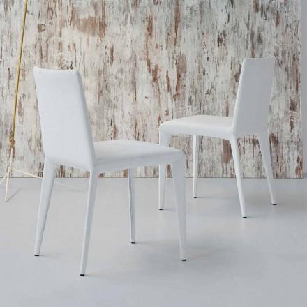 Bonaldo Filly chaise rembourrée design en cuir blanc faite en Italie