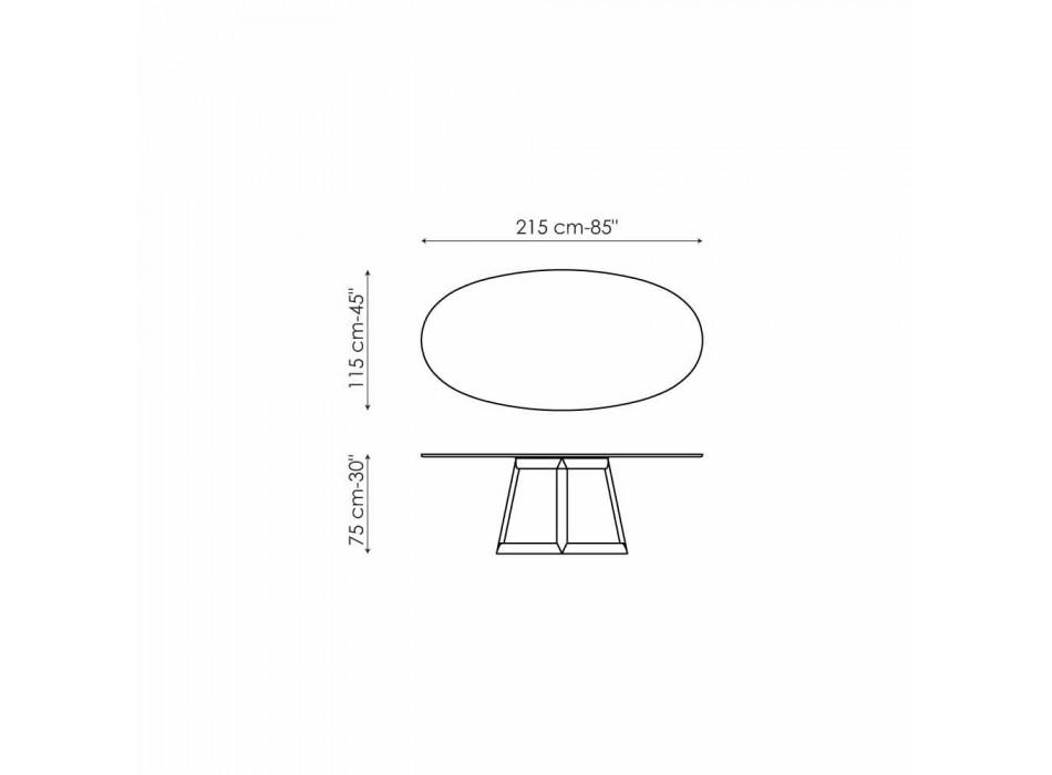 Table ovale Bonaldo Greeny en cristal et bois design made in Italy