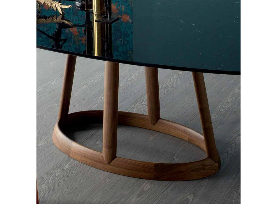 Table ovale design Bonaldo Greeny en marbre Marquinia fabriqué en Italie