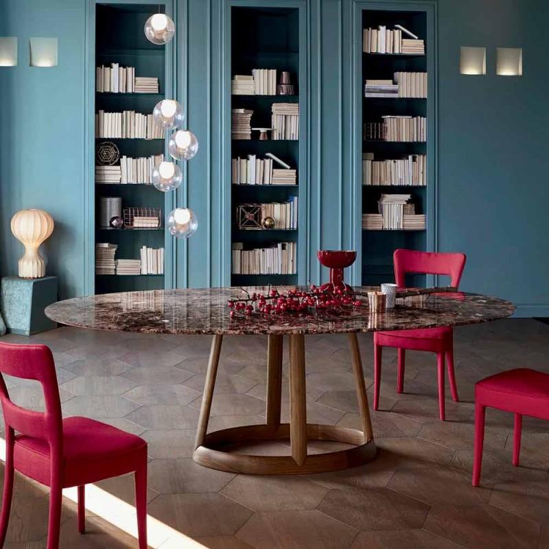 Bonaldo Greeny table ronde marbre design Emperador fabriqué en Italie