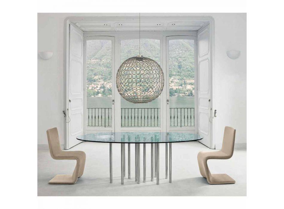 Table ronde Bonaldo Mille en cristal et acier chromé made in Italy