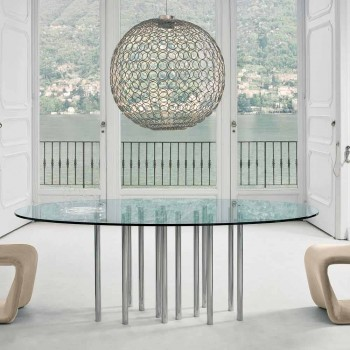 Table ronde Bonaldo Mille en cristal et acier chromé made in Italy