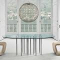Bonaldo Mille table ronde en cristal et acier chromé faite en Italie