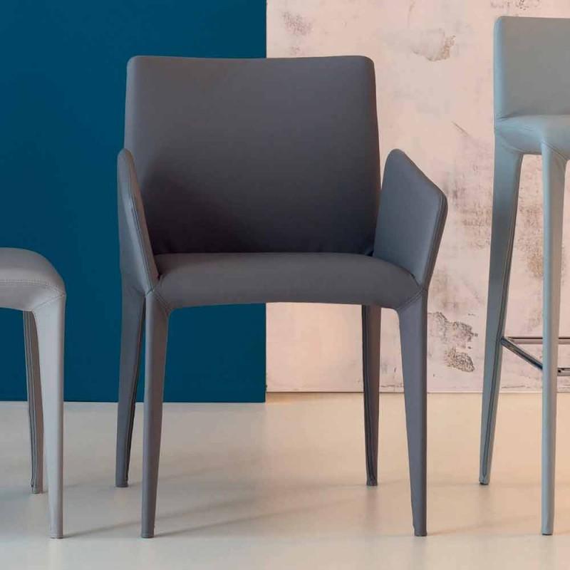 Bonaldo Miss Filly chaise rembourrée en cuir avec accoudoirs fabriqué en Italie