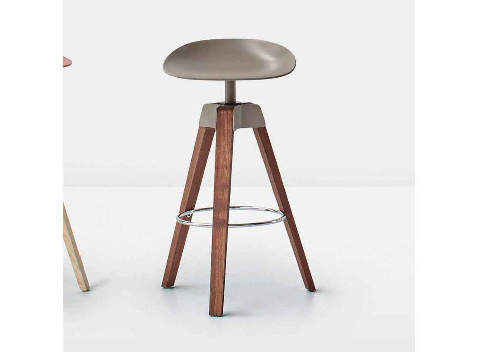 Bonaldo Plumage tabouret pivotant en acier et bois fabriqué en Italie