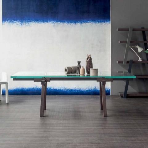 Table à manger extensible en cristal Bonaldo Tracks fabriquée en Italie
