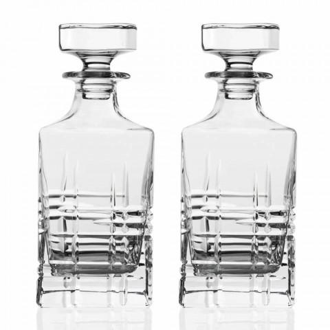 Bouteille et verres pour whisky de luxe en cristal écologique 6 pièces - Arythmie
