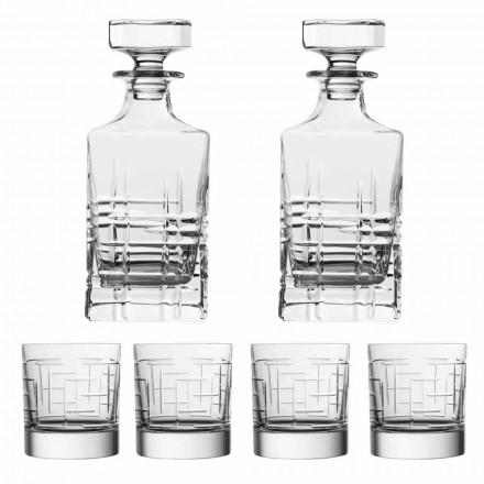 Bouteille et verres de whisky en cristal écologique de luxe, 6 pièces - Arythmie