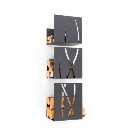 Porte-bûches mural d'intérieur en acier TRIO Caf Design, made in Italy