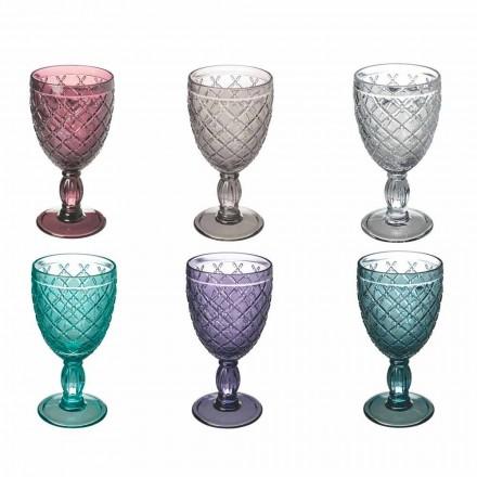 Gobelet à vin ou à eau en verre coloré ou transparent avec décorations, 12 pièces - Rocca