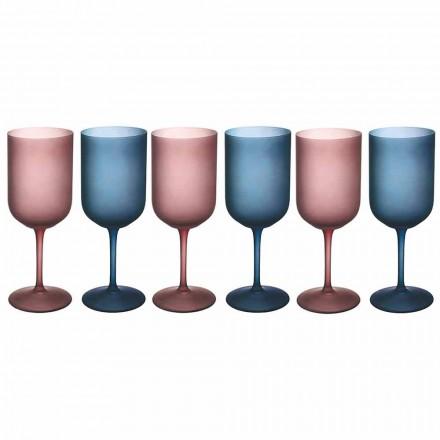 Verres à Vin Colorés en Verre Givré Effet Glace 12 Pièces - Norvegio