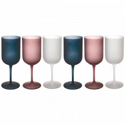 Verres à Vin en Verre Givré Effet Gravier Coloré, 12 Pièces - Automne