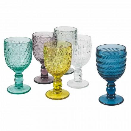 Gobelets décorés en verre coloré Service à eau ou à vin 12 pièces - Mix