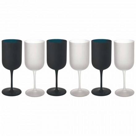 Gobelets en verre dépoli Service à vin blanc et noir 12 pièces - Norvegiomasai