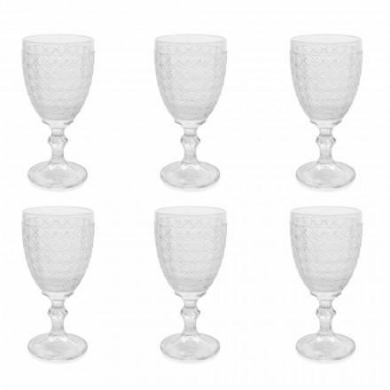 Verres à vin en verre transparent et décorations en relief, 12 pièces - Aperi