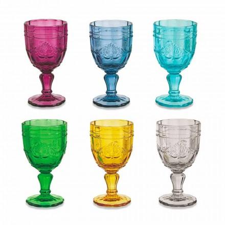 Gobelets à vin colorés en verre avec décoration Arabescato, service 12 pièces - Vis