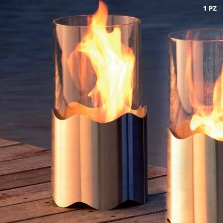 Cheminée bioéthanol à poser sur la table en acier inox et verre Leon
