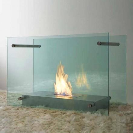Cheminée au bioéthanol au sol en verre et acier design pour intérieur - Edison