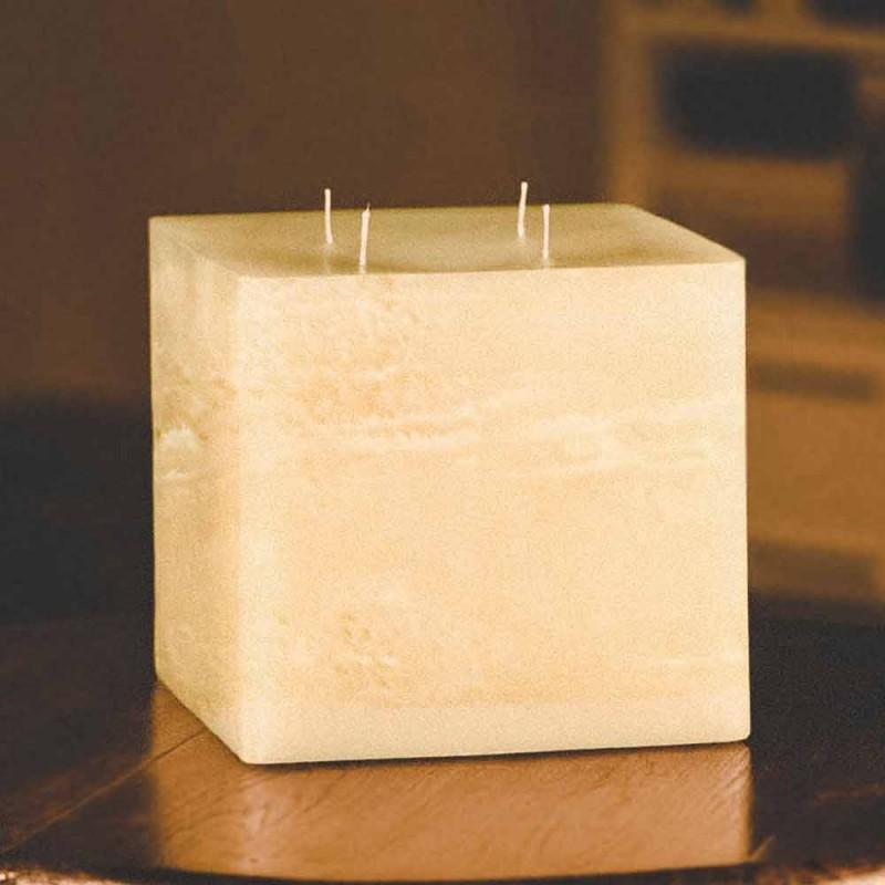 Bougie carrée moderne en cire fabriquée en Italie - Mondeo