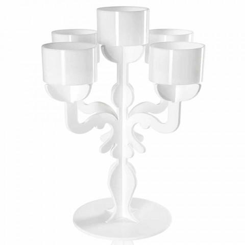 Petit candélabre design Renaissance à 5 bras en plexiglas Nulvi