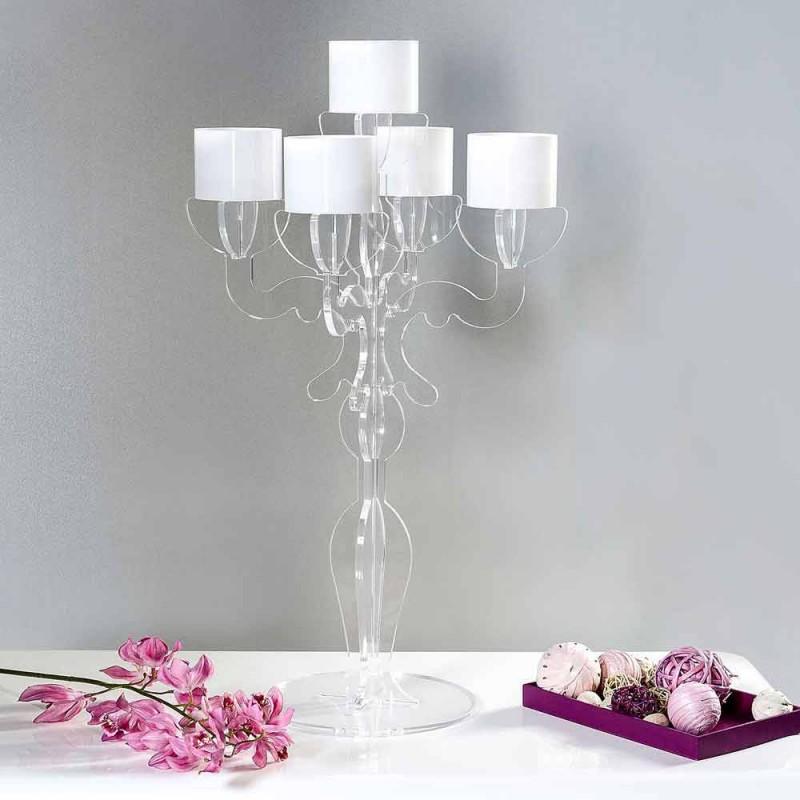Grand candélabre design Renaissance à 5 bras en plexiglas Nulvi