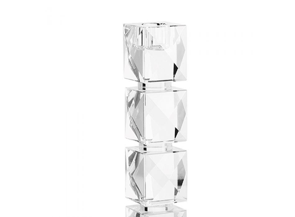 Bougeoir en cristal au design géométrique de luxe fabriqué en Italie - Engarda