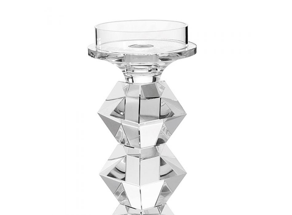 Bougeoir Cristal Luxe Italien Design Géométrique 2 Hauteurs - Renzo