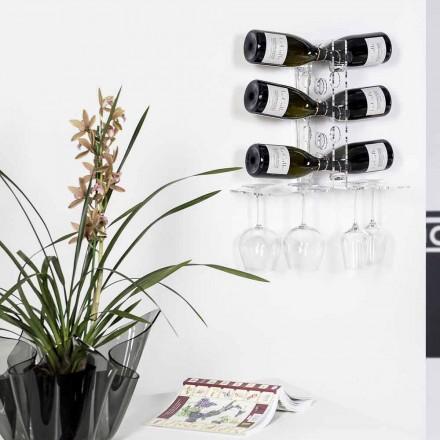 Porte-bouteilles mural transparent de design moderne Luna