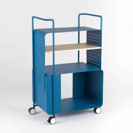 Chariot design en acier avec plateau en frêne Made in Italy - Murella