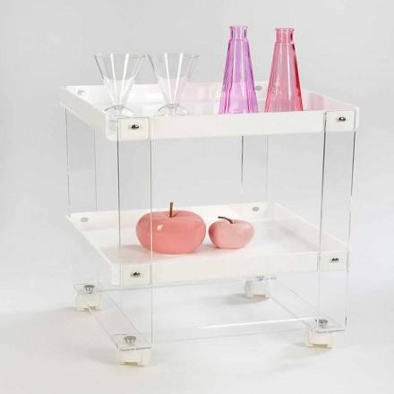Desserte design avec 2 étagères en plexiglas, Diso