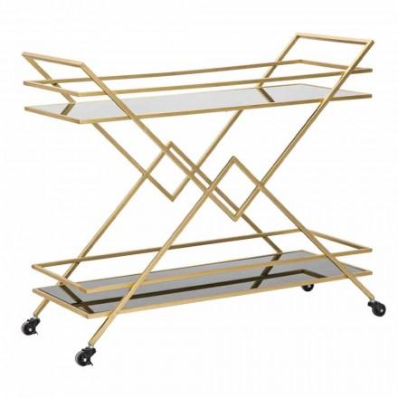 Chariot design rectangulaire en fer, MDF et miroir - Corinne