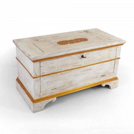 Coffre fait à la main en bois massif avec des profils en or Made in Italy - Caio
