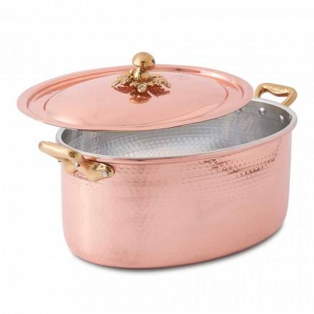 Cocotte ovale en cuivre étamé à la main pour four et couvercle 37x26 cm - Mariag