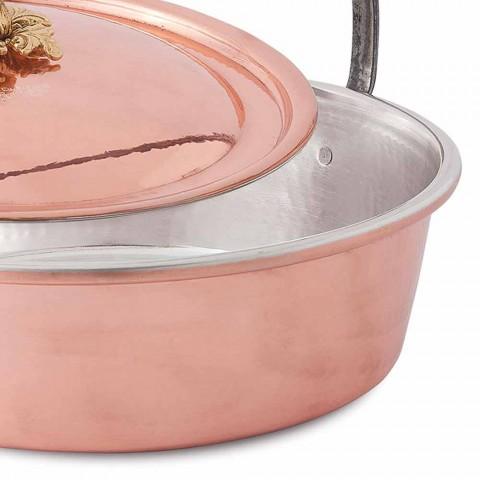Casserole, couvercle et poignée en cuivre étamé à la main 28 cm - Mariagiu