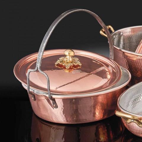 Casserole en cuivre étamé à la main, couvercle et poignée arquée 34 cm - Mariagiu