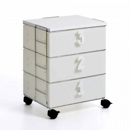 Commode 3 tiroirs avec poignées numériques et roulettes blanche Yodi
