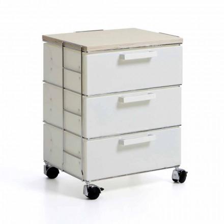 Commode design moderne avec 3 tiroirs et top en bois naturel Irma