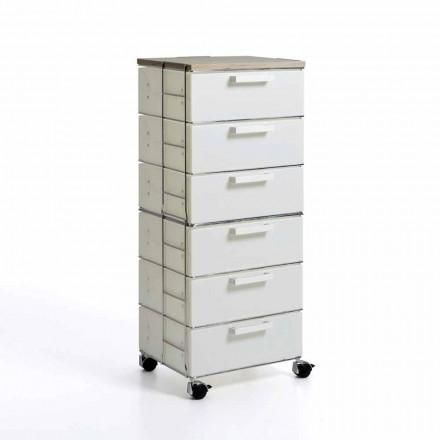 Commode avec 6 tiroirs design moderne et top en bois naturel Irma
