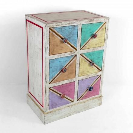 Commode artisanale en bois avec tiroirs colorés Made in Italy - Brighella