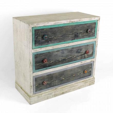 Commode artisanale en bois de sapin avec 3 tiroirs Made in Italy - Singe