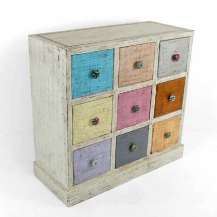 Commode artisanale en bois massif à 9 tiroirs Made in Italy - Pierrot